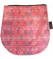 Rabat amovible rouge motif éléphants pour sac à rabat interchangeable
