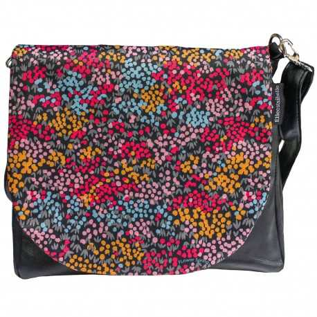 Sac bandoulière noir à rabat amovible motif petites fleurs multicolores