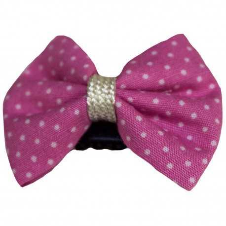 Barrette anti glisse pour bébé girly noeud rose à pois blancs