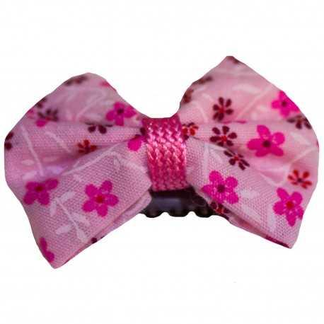 Barrette bébé anti glisse noeud à fleurs roses