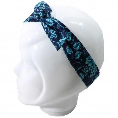 Bandeau magique bleu marine et fleurs turquoises
