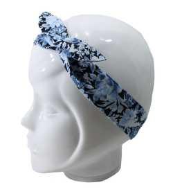Bandeau magique camaïeu de fleurs bleues