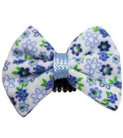 Barrette anti glisse fleurie bleu vert blanc
