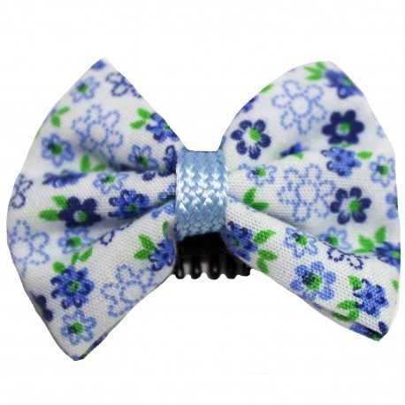Barrette bébé anti glisse fleurie bleu vert blanc