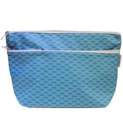 Trousse de toilette en coton enduit bleu motifs paon