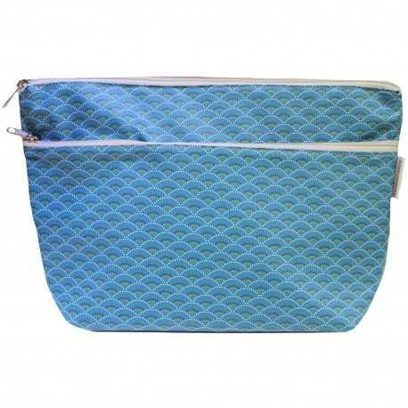 Trousse de toilette femme en coton enduit bleu motifs paon