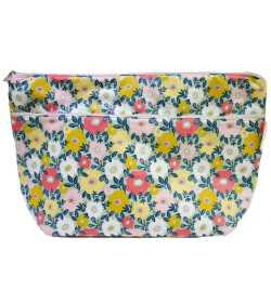 Grande trousse de toilette femme en coton enduit fleurs jaunes