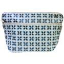 Trousse de toilette bleue à motifs géométriques