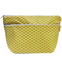 Trousse de toilette jaune motif paon