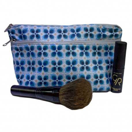 Trousse de maquillage femme tissu enduit bleu