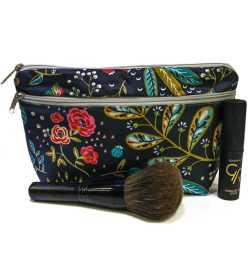 Trousse de maquillage souple noire fleurie