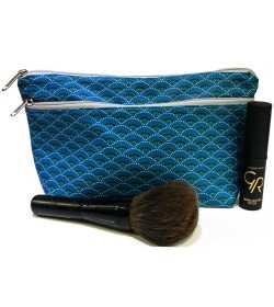 Trousse de maquillage bleue motifs paon