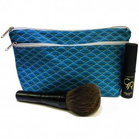 Trousse de maquillage tissu enduit bleu