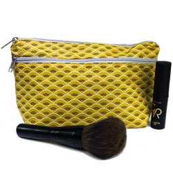 Trousse de maquillage jaune motifs paon