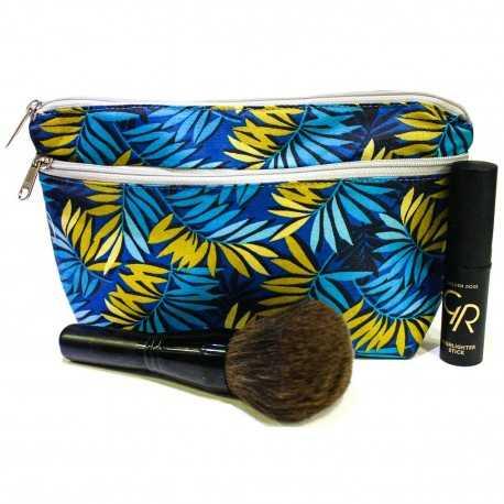 Trousse de maquillage bleue et jaune motif feuilles