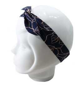 Bandeau magique bleu marine motif feuilles beiges