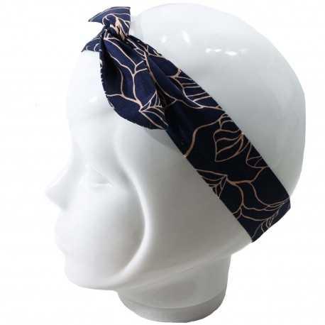Bandeau cheveux malin bleu marine motif feuilles beiges