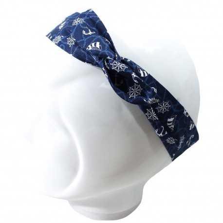 Bandeau fil de fer bleu motifs marine