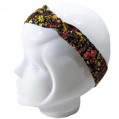 Bandeau cheveux femme noir fleurs jaunes