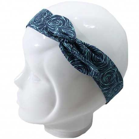 Bandeau magique bleu à spirales turquoises