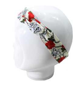 Bandeau magique tête de mort et fleurs rouges