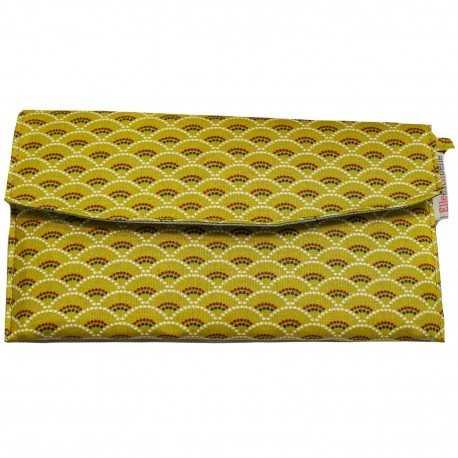 Portefeuille jaune femme coton enduit