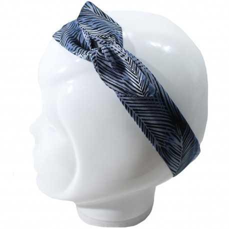 Bandeau cheveux femme feuillage bleu