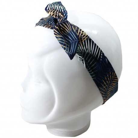 Bandeau magique femme feuillage bleu et camel