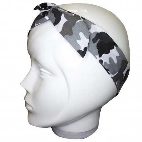 Bandeau cheveux camouflage militaire gris