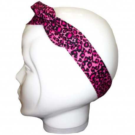 Bandeau cheveux léopard rose