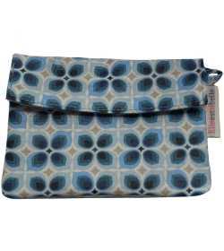 Porte-monnaie bleu motifs géométriques