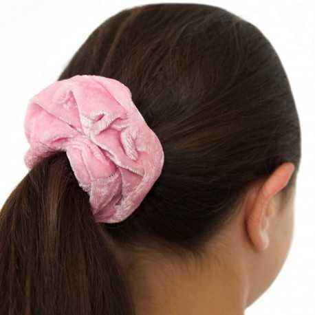 Chouchou cheveux velours rose