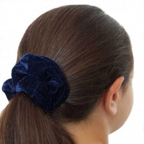 Chouchou cheveux velours bleu marine