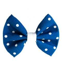 Barrette noeud bleu à pois blancs
