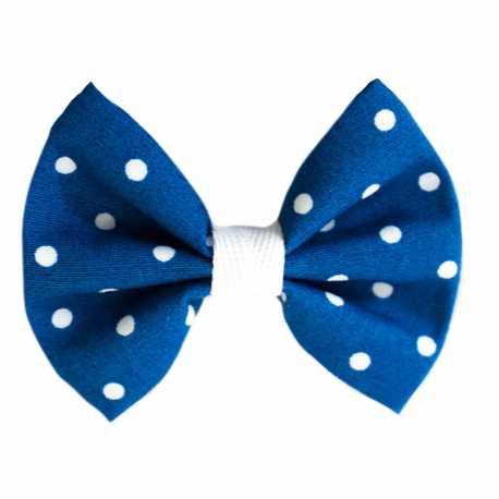 Barrette noeud cheveux fille bleu à pois blancs