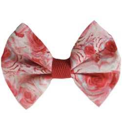Barrette fille noeud rouge fleuri