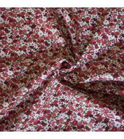 Tissu coton fleuri rouge et bordeaux