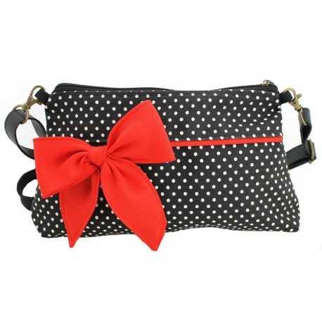 Mini sac bandoulière noir pois blancs et noeud rouge