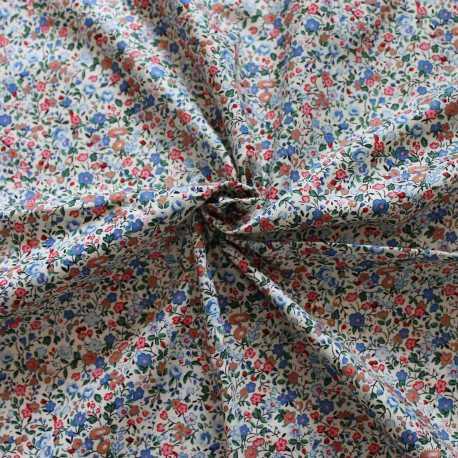 Tissu esprit liberty bleu et rouge