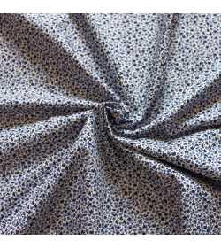 Tissu coton fleuri bleu et blanc