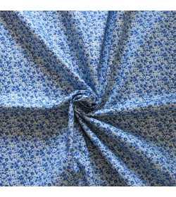 Tissu coton fleuri bleu et vert