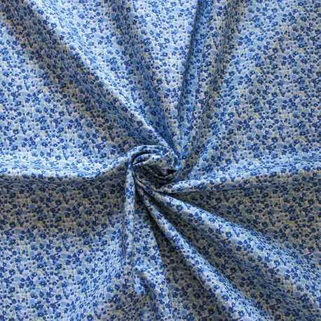 Tissu esprit liberty bleu et vert