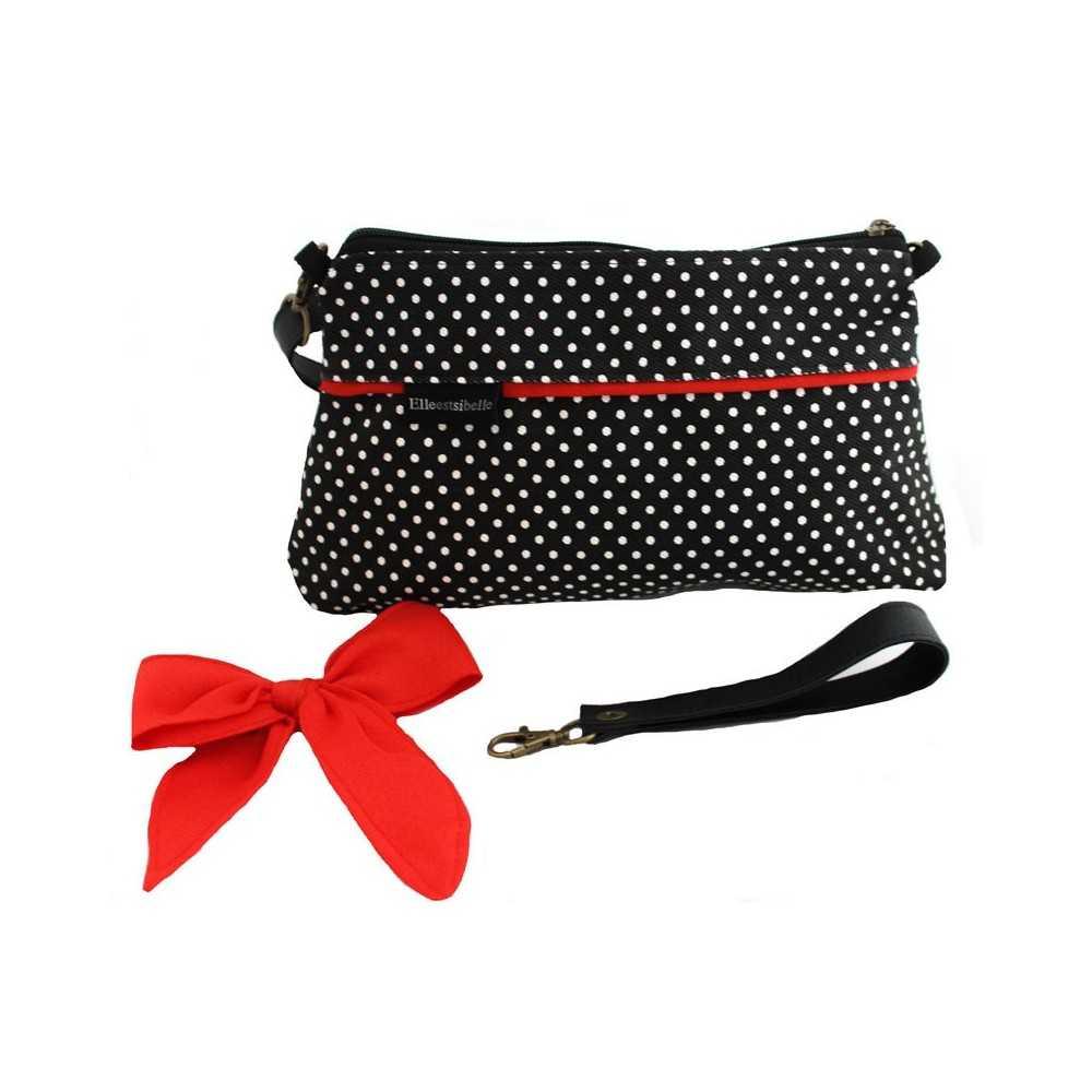 mini sac bandouli re femme noir pois blancs et noeud rouge. Black Bedroom Furniture Sets. Home Design Ideas