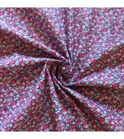 Tissu coton fleuri rose et vert