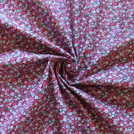 Tissu esprit liberty rose et vert