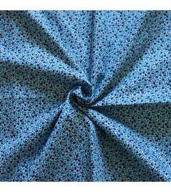 Tissu coton fleuri camaieu de bleu