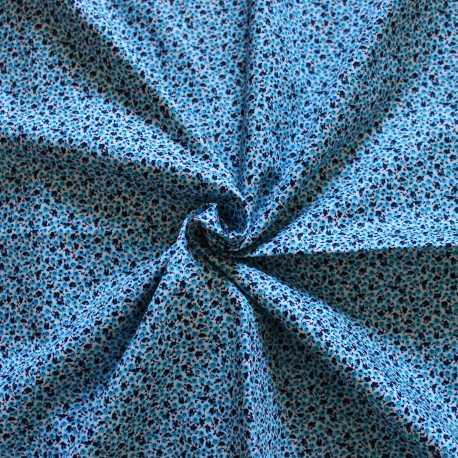 Tissu coton esprit liberty camaïeu bleu