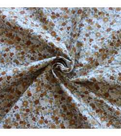 Tissu coton fleuri miel et marron