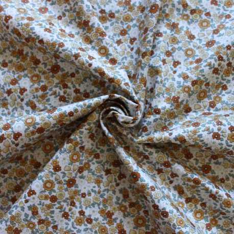 Tissu coton esprit liberty couleur miel