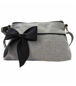 Mini sac bandoulière femme gris noeud noir